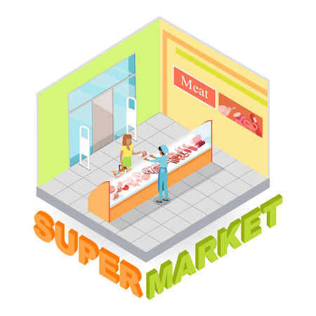 mujer en el supermercado: Supermarket Meat Department Isometric Vector
