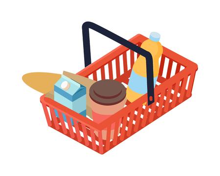 Supermarket Basket with Food Isometric Vector Ilustrace