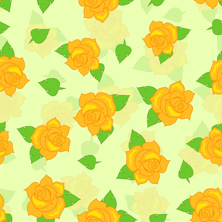 Yellow Rose with Green Leaf Seamless Pattern