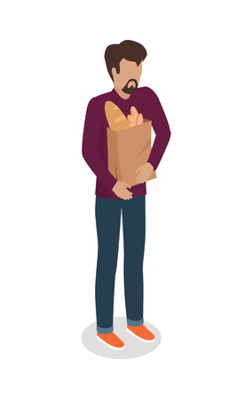Man with Paper Bag Buying Daily Products Vector