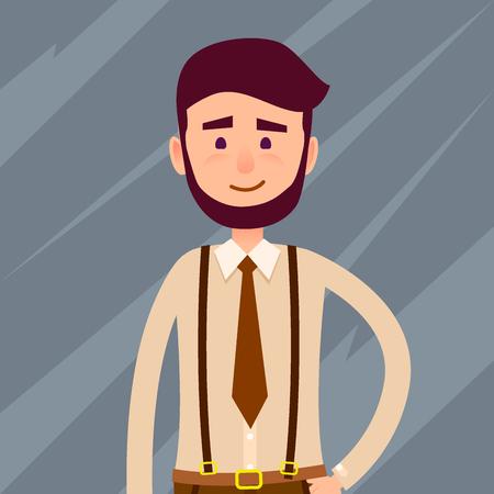 Bearded Cartoon Character Cropped Illustration Illustration