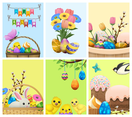 Easter festive cartoon concepts set. Bright vector compositions witt spring flowers, painted eggs, sweets and pastry, bunny and birds. Easter symbols illustration for holiday invitation, greeting card