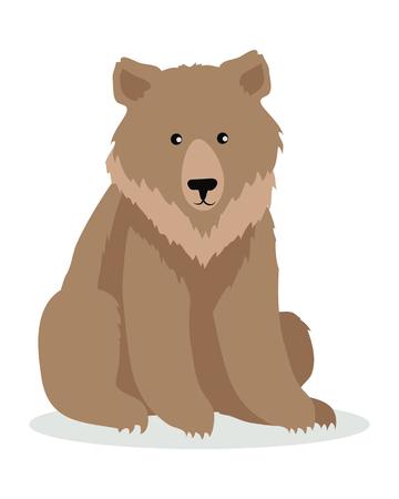 Brown Bear Cartoon illustration in Flat Design