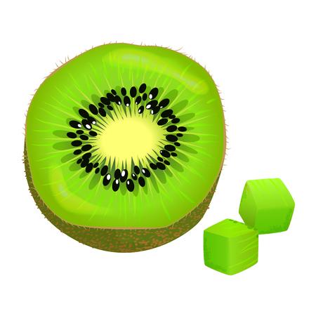 Sliced on Half and Diced Kiwi Vector Illustration