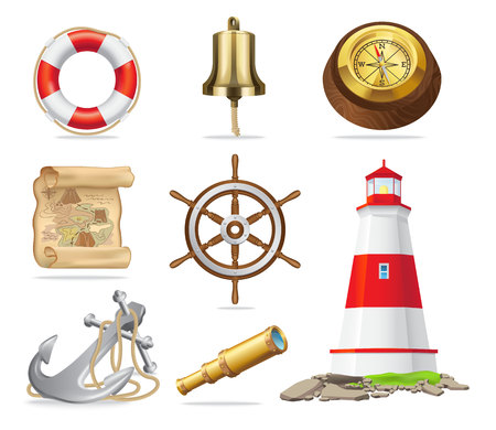 Marine Attributes Set of Isolated Illustrations Иллюстрация