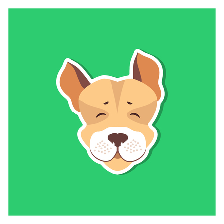 Cheerful Muzzle of Jack Russell Terrier Flat Icon