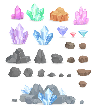 Natural Crystals and Stones Illustrations Set