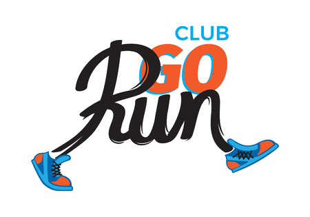 composition: Club Go Run. Funny Inscription in Shoes on White