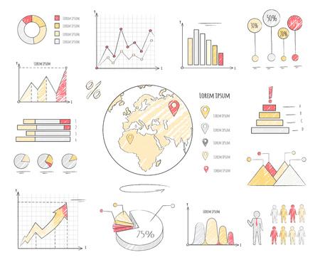 Earth Population Statistics Charts Illustration Stock Photo