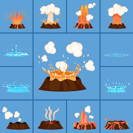 Concept de volcan actif et Geyser en action Banque d'images - 79007339