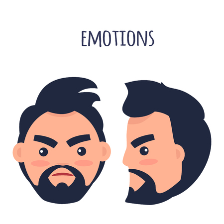 Emotions. Angry Man Face Isolated Illustration Stock Photo