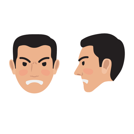 Angry Man Face From Two Sides Flat Vector Icon