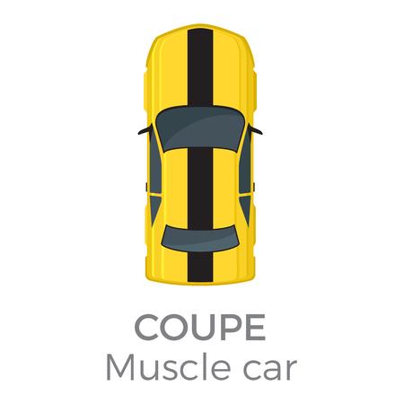 근육 자동차 쿠페 톱보기 플랫 벡터 아이콘