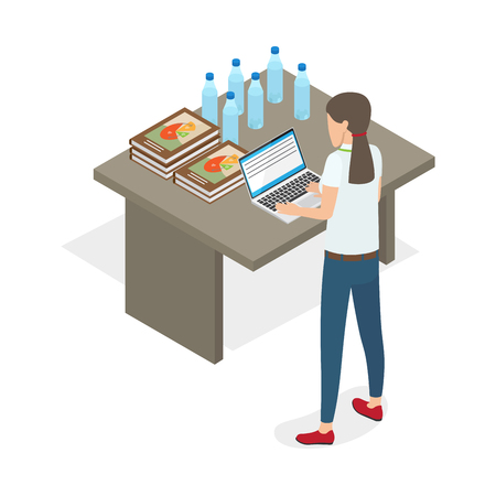 Businesswoman Standing and Practicing on Computer Illustration