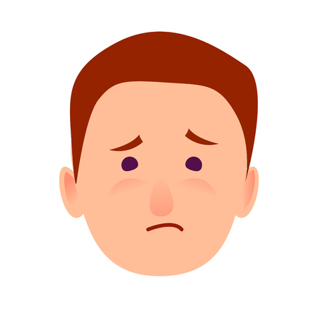 lamentable: Sorrowful Face Emotion on Man-child Close-up Icon