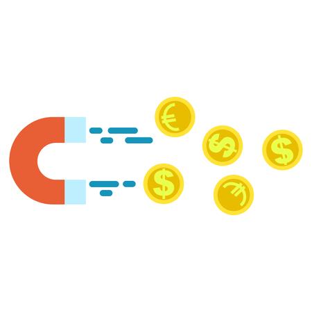 ユーロ硬貨およびドルのお金をひきつける磁石