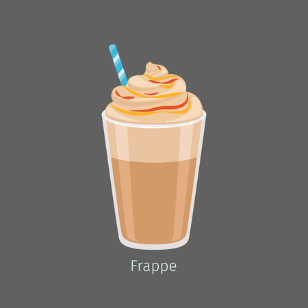 Glass of Chilled Frappe Coffee Drink Flat Vector