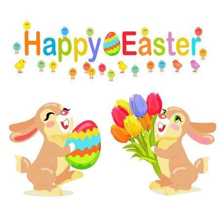 Happy Easter Greeting Card Design. Milk Bunnies Illusztráció