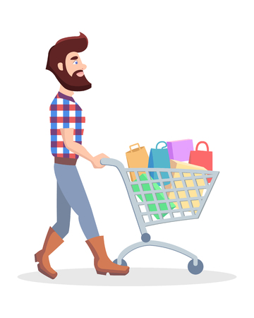 Hipster with Shopping Trolley Full of Goods Vector Illustration