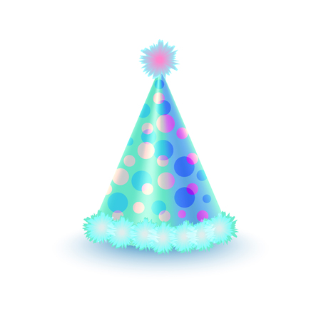 dressing up party: Bright Festive Cap with Purple and Blue Circles