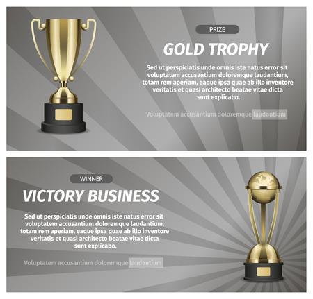 Gouden trofee voor overwinning zakelijke illustratie