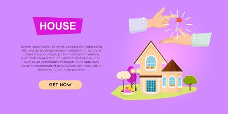Buying House Online. Property Selling. Web Banner. Illustration