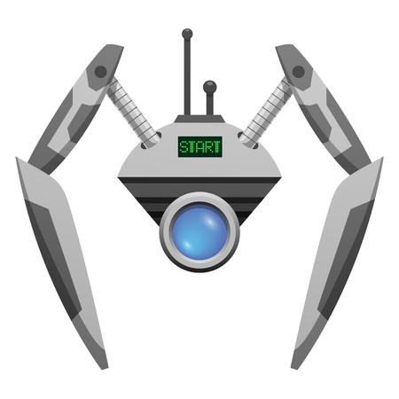 ガラス ボタンと挟撃手アンドロイド ロボット