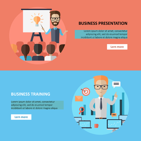 Business Presentation and Training Banner. Illustration