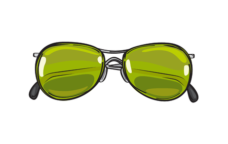 Fashionable Green Sunglasses Isolated Illustration