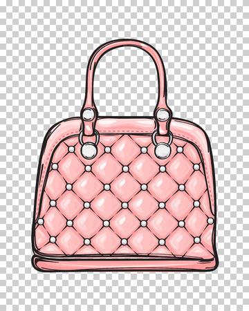 트렌디 한 가죽 핑크색 가방 절연 일러스트 레이션