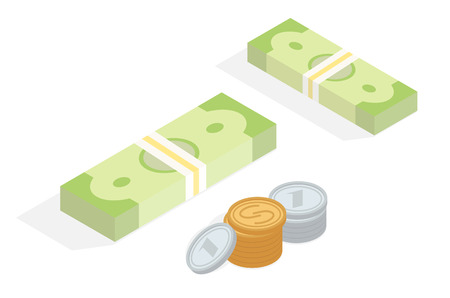 Money in Cash Isometric Projection Concept Illustration