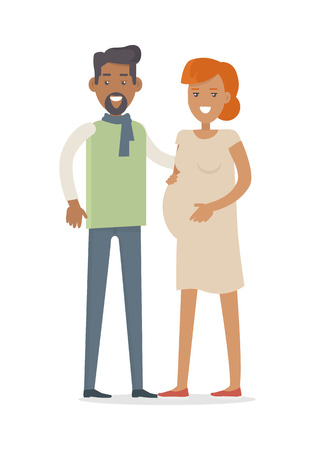 awaiting: Man and Woman Expecting Baby. Young Family.