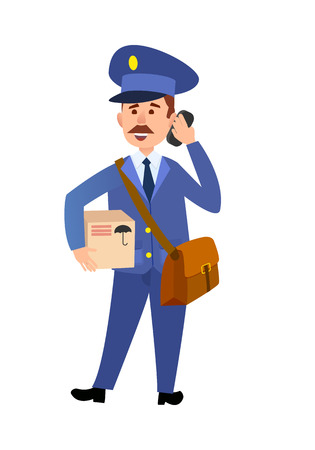 Postman Delivering Parcel Isolated Cartoon Vector