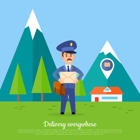 Delivery Everywhere Banner. Courier with Package