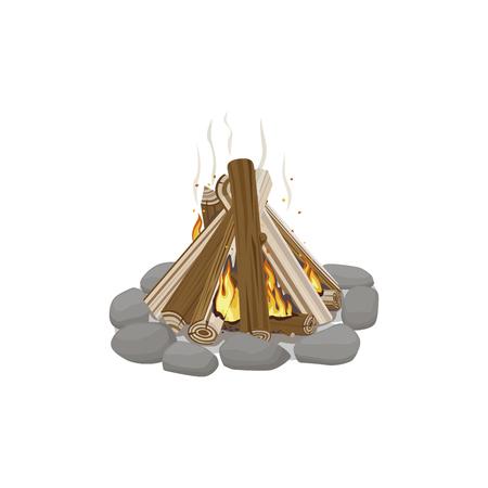 Inicio de leña rodeado de piedras ardiendo Foto de archivo - 84986125