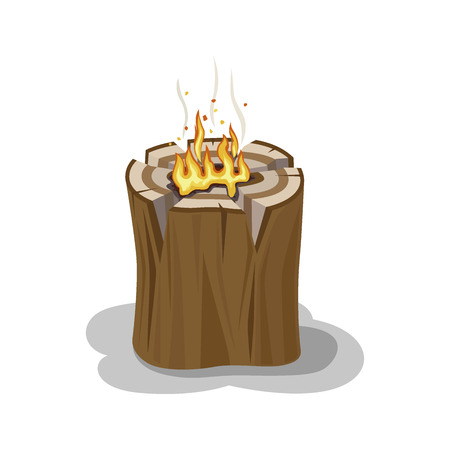 Alight Stump Isolated Illustration. Firewood Element Illustration