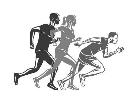 ランナーのシルエットのセット。スポーツ会社のロゴ  イラスト・ベクター素材