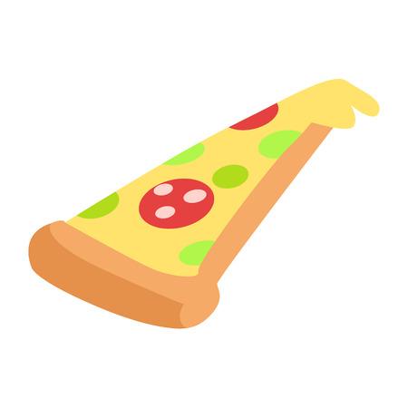 手のスライスが食欲をそそるペパロニピザを描画  イラスト・ベクター素材