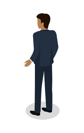 Male in Business Suit Standing Back Flat Design