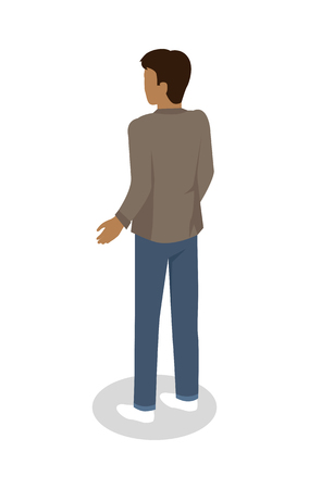 Man Standing Backwards Vector Isometric Icon
