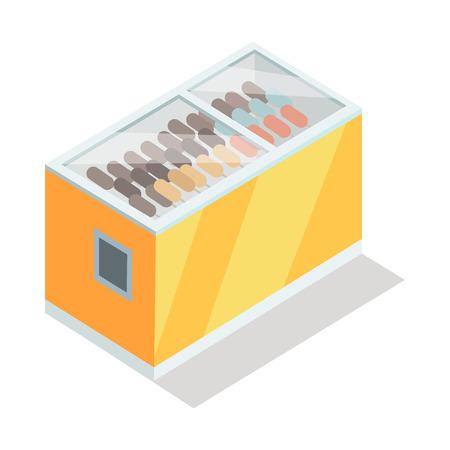 Ijs in Kruideniersvriezer Isometrische Vector Stock Illustratie