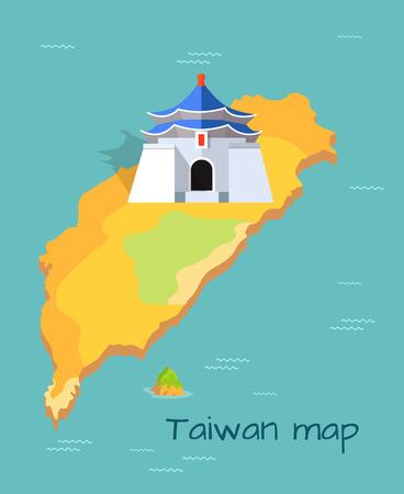 Majestic Chiang Kai-shek Memorial Building on Map Illustration