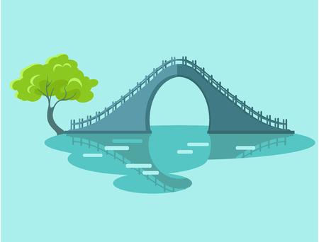 台湾フラット アイコンに緑の木月橋