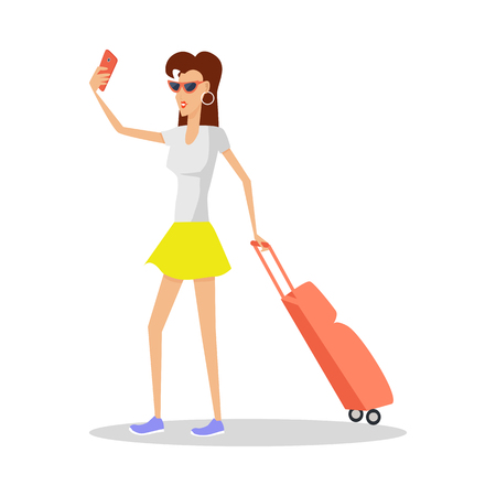 Summer Vacation Red Head Girl Travels with Luggage 向量圖像
