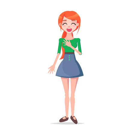Laughing Young Woman Cartoon Flat Vector Character