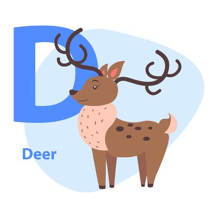 Grappig alfabet met Cartoon dierlijke blauwe letter D