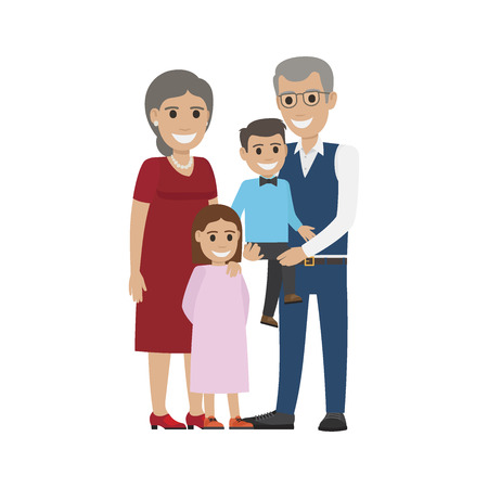 Aged Couple, Grandson with Granddaughter Isolated