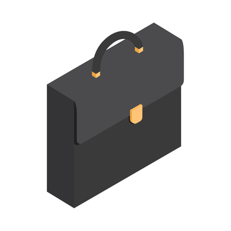Black Leather Briefcase Isolated Illustration