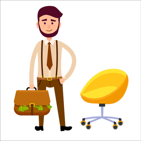 Hipster Boy with Briefcase Full of Money Art Theme Illustration