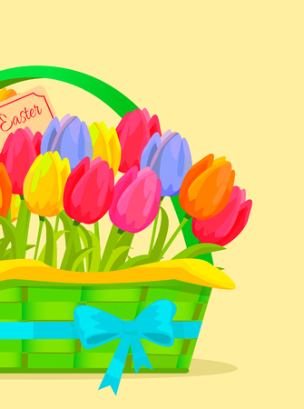 Happy Easter Festive Vector Concept with Tulips Çizim